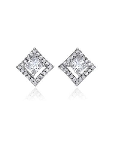 Tophills Diamond Co. 1,20 Ct Pırlanta Efekt  Altın Entourage Princess Küpe Renkli